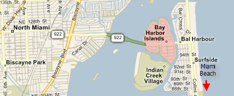 Bay Harbor Islands Indian Creek Village Florida Map