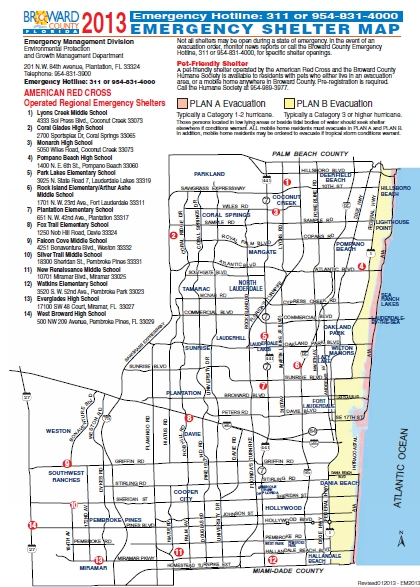 Broward County Emergency Shelter Map 2013